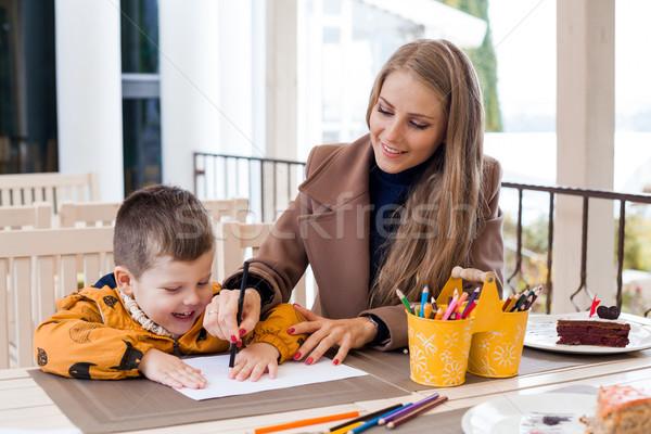 мамы сын обратить рисунок карандашей Сток-фото © dmitriisimakov
