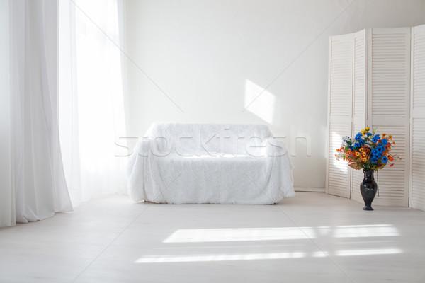 интерьер белый комнату диван окна ваза Сток-фото © dmitriisimakov