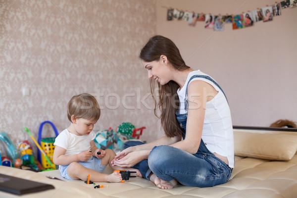 Anya kicsi fiú játék játékok faiskola Stock fotó © dmitriisimakov