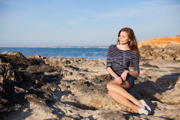 девушки пляж Sunshine довольно воды морем Сток-фото © dmitriisimakov