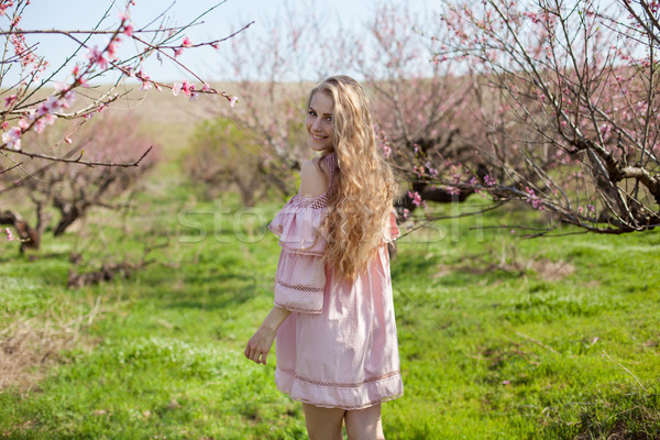 blonde in pink dress walks in the garden with flowering trees Stock photo © dmitriisimakov