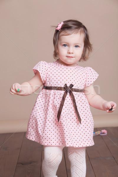 little girl in a pink dress laughter smile Stock photo © dmitriisimakov