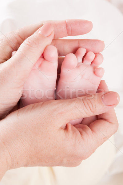 mom's hands hold the feet toes Stock photo © dmitriisimakov