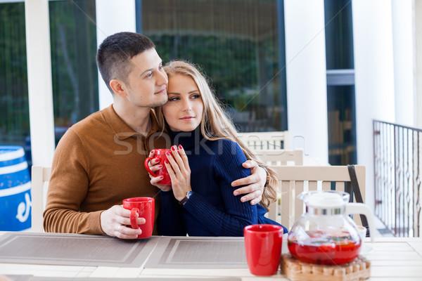 Férj feleség ünnep ital forró csokoládé kávé Stock fotó © dmitriisimakov
