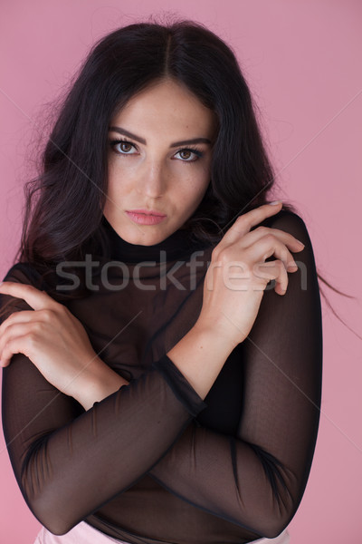 портрет девушки черное платье розовый женщину здании Сток-фото © dmitriisimakov