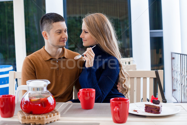 husband with wife on holiday drink hot coffee and tea Stock photo © dmitriisimakov