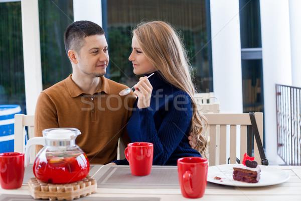 муж жена праздник пить горячей кофе Сток-фото © dmitriisimakov