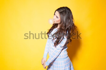 красивой блондинка девушки желтый синий платье Сток-фото © dmitriisimakov