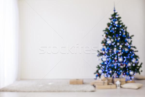 Bokeh рождественская елка красный подарки белый комнату Сток-фото © dmitriisimakov