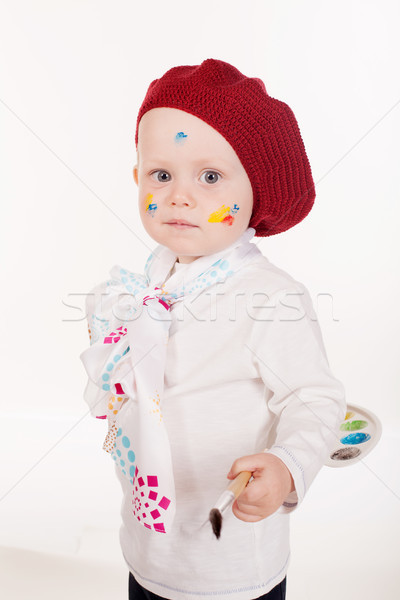 little boy artist with a brush and paints Stock photo © dmitriisimakov