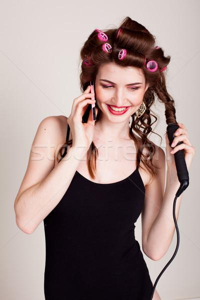 Kız saç konuşma telefon kadın Stok fotoğraf © dmitriisimakov