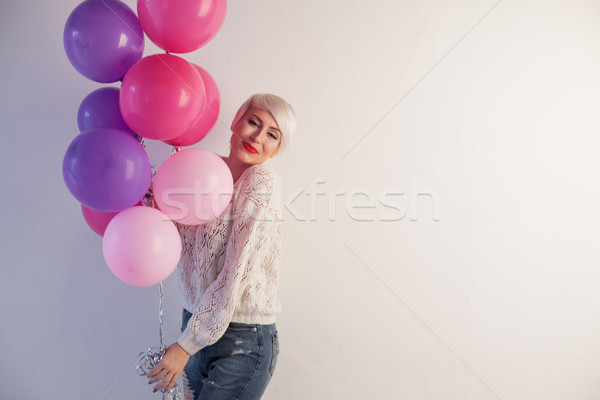 blonde woman nice gifts and balloons brought 1 Stock photo © dmitriisimakov