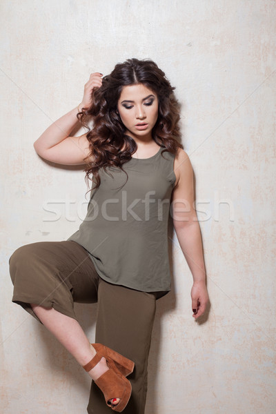 military girl style curls hairstyle Stock photo © dmitriisimakov