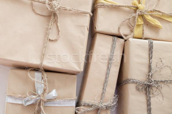 Karácsony ajándékok dekoráció bézs család fa Stock fotó © dmitriisimakov