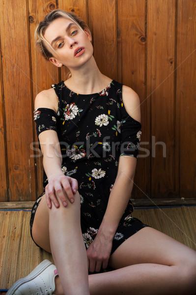 ファッショナブル 女性 ブロンド ドレス 花 春 ストックフォト © dmitriisimakov