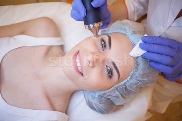 Arzt Gesicht Mädchen Hand Körper Gesundheit Stock foto © dmitriisimakov