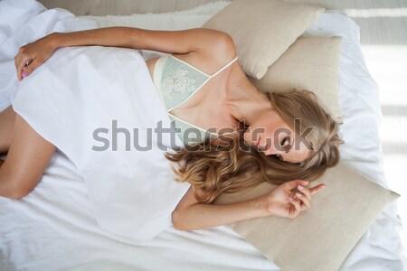 ブロンド 少女 ランジェリー ベッド 顔 ストックフォト © dmitriisimakov