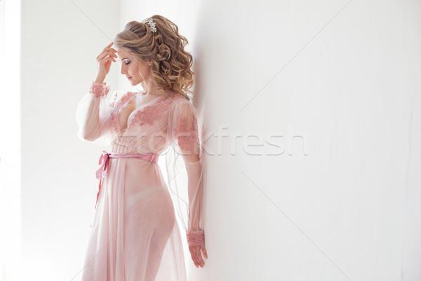 かなり 少女 ピンク ランジェリー 白 壁 ストックフォト © dmitriisimakov