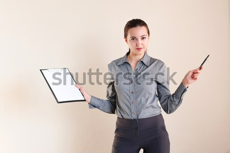 business girl stands with folder with the documents Stock photo © dmitriisimakov