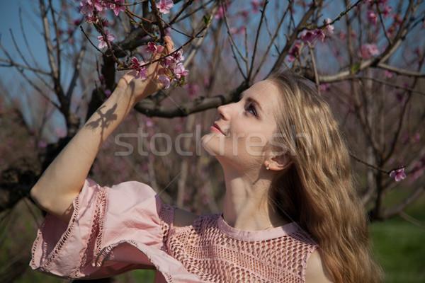 Menina jardim florescimento pêssego flores Foto stock © dmitriisimakov