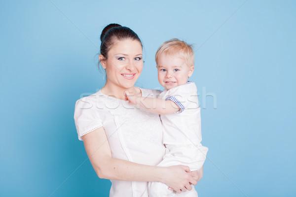 портрет женщину мальчика синий семьи любви Сток-фото © dmitriisimakov