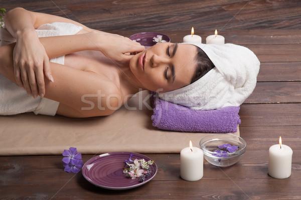 Kız lies sauna masaj spa kadın Stok fotoğraf © dmitriisimakov