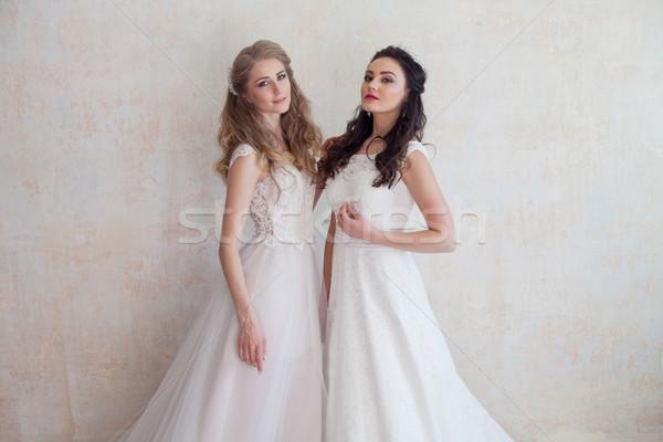 Iki gelinler düğün esmer kız arkadaş Stok fotoğraf © dmitriisimakov