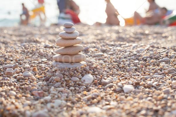 zen stone on beach for perfect meditation Stock photo © dmitriisimakov