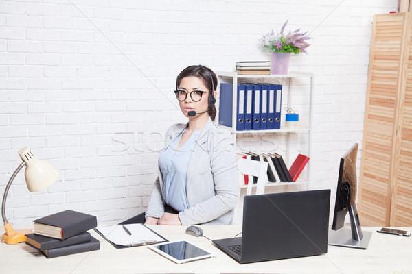 Call Center оператор компьютер служба бизнеса девушки Сток-фото © dmitriisimakov