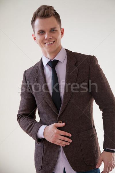 Portre yakışıklı adam iş takım elbise ofis eller Stok fotoğraf © dmitriisimakov