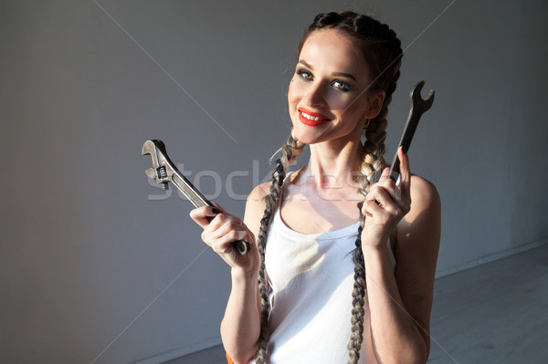 mechanic with tools woman with braids 1 nice Stock photo © dmitriisimakov