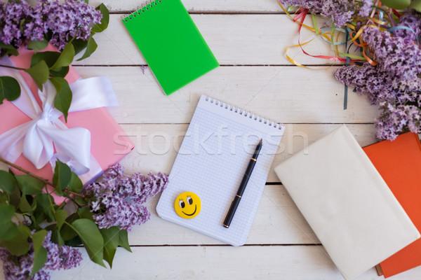 Notebook orgona ajándék hazugság fehér asztal Stock fotó © dmitriisimakov