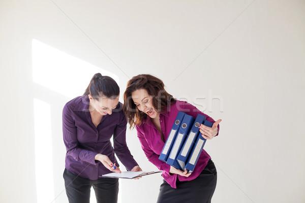 Business meisje mappen documenten papier hand Stockfoto © dmitriisimakov