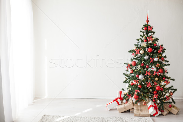 Christmas tree with red decorations new year gifts Stock photo © dmitriisimakov