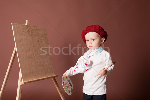 little boy artist brush and paints paints a picture Stock photo © dmitriisimakov
