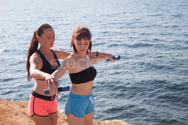 фитнес инструктор женщину играть спортивных пляж Сток-фото © dmitriisimakov