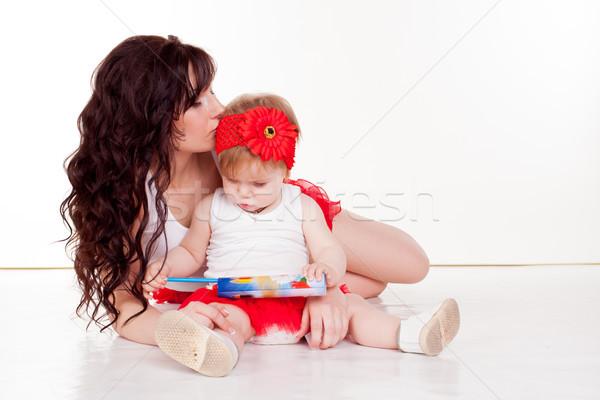 матери мало дочь окрашенный карандашей Сток-фото © dmitriisimakov