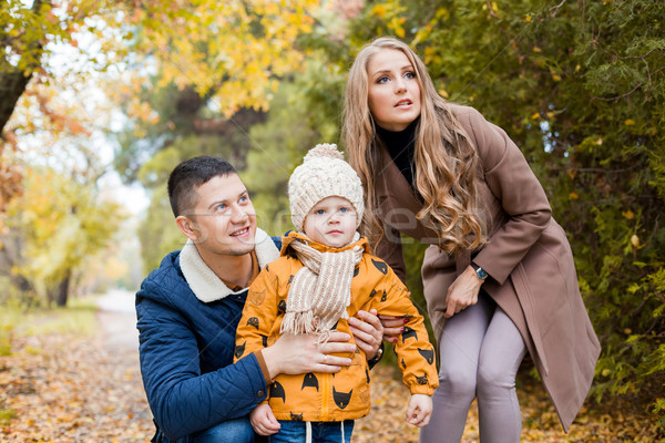 family walk in the forest in autumn birds Stock photo © dmitriisimakov