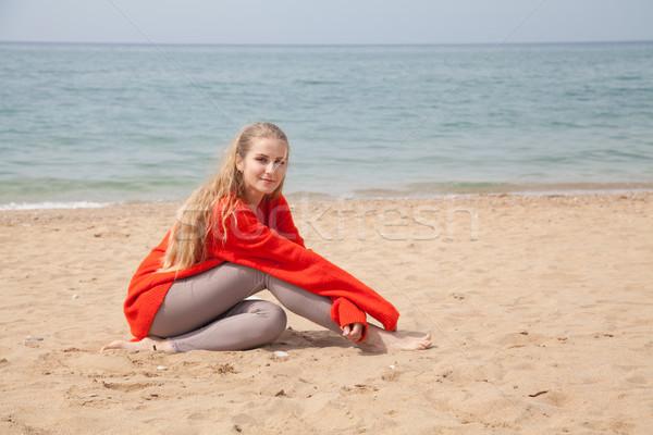 a woman walks by the Sea Beach one in autumn Stock photo © dmitriisimakov