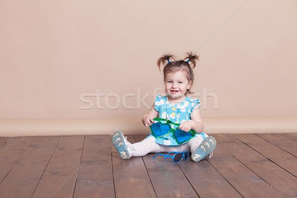 девочку большой очки смешные девушки улыбка Сток-фото © dmitriisimakov