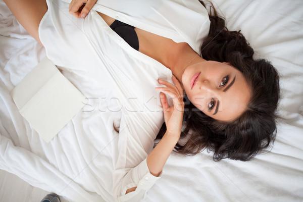 Kız kadın iç çamaşırı lies yatak kitap güzel Stok fotoğraf © dmitriisimakov