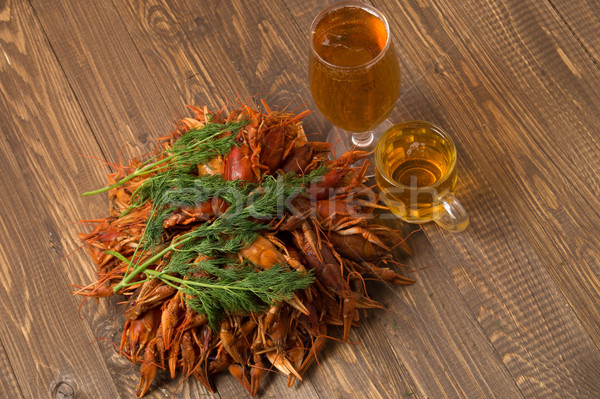 Crayfishes with beer  and dill Stock photo © dmitroza