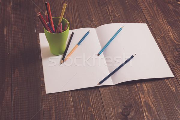 Folha papel vidro lápis tabela Foto stock © dmitroza