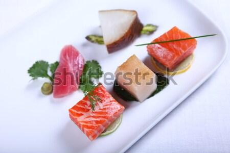 Fresche sashimi decorato calce primo piano Foto d'archivio © dmitroza