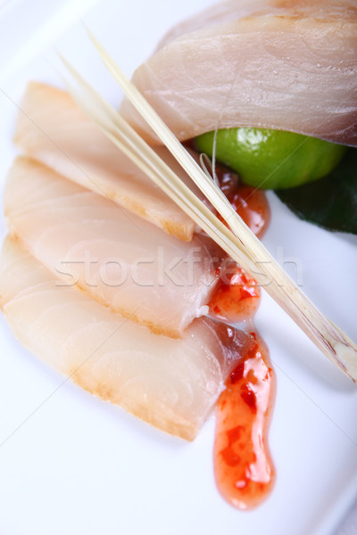 Raw white fish with sauce Stock photo © dmitroza