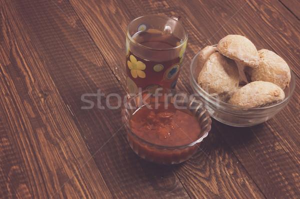 Congestionamento chá tabela madeira copo Foto stock © dmitroza