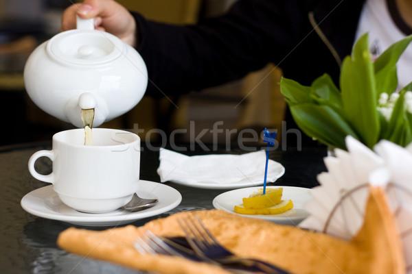 Beker theepot cafe witte groene thee hand Stockfoto © dmitroza