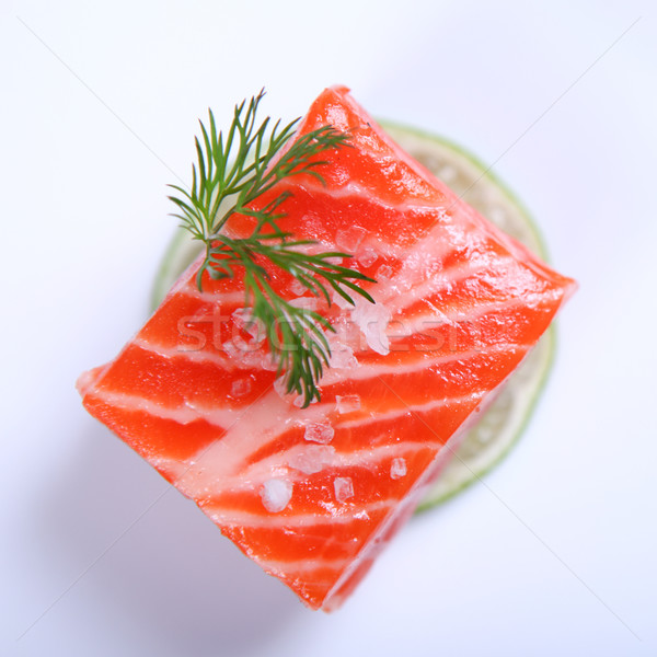 Frescos salmón crudo rojo blanco placa Foto stock © dmitroza