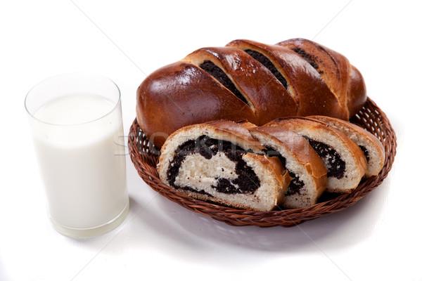 Bochenek świeże pszenicy koszyka szkła mleka Zdjęcia stock © dmitroza