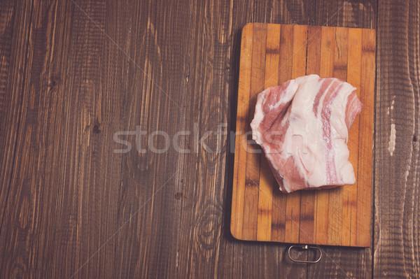 Stockfoto: Plank · varkensvlees · groot · stuk · tabel · biefstuk